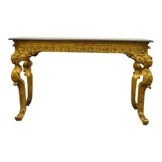 20th Century French Baroque Style Marble Top Gold Gilt Figural Console Table For Sale