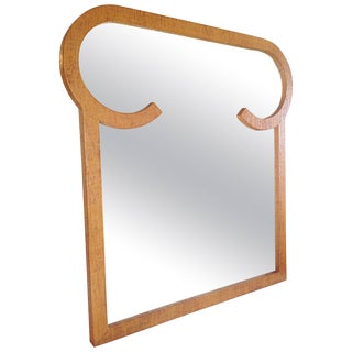 1970s Mid-Century Modern Shaped Grass Cloth Covered Mirror For Sale