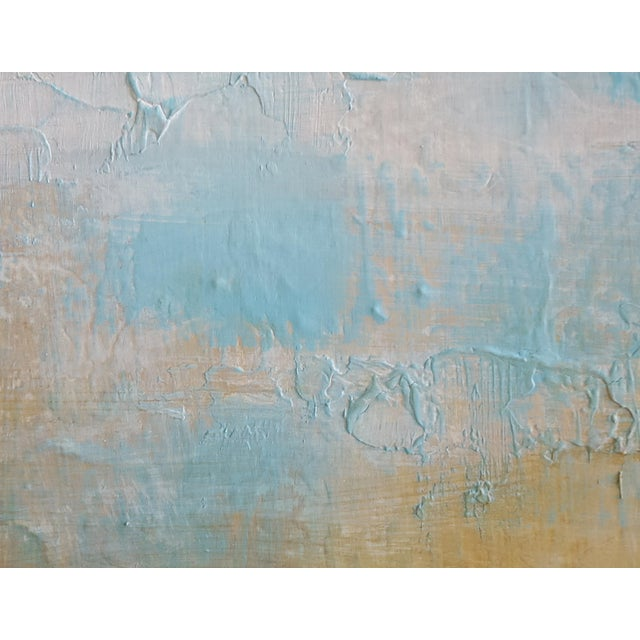 Earthenware original textured modern art landscape painting. Heavily textured canvas with light blue, earthy brown, warm...