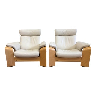 Ekornes Stressless Pegasus Large Leather Arm Chairs- a Pair For Sale