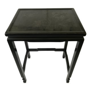 1970s Chinoiserie Black Lacquered Side/Nesting Table