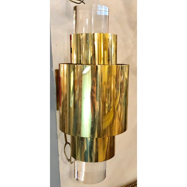 Mid-Century Modern Pair of Mid-Century Modern Karl Springer Brass and Lucite Wall Sconces For Sale - Image 3 of 12