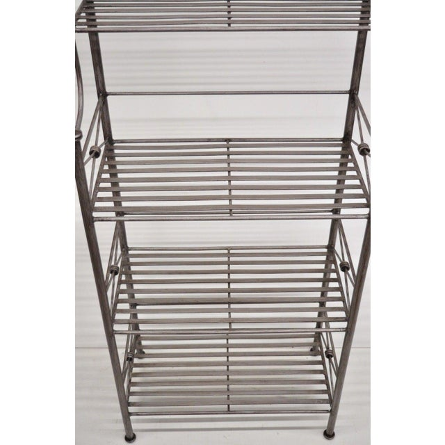 Pier 1 Medici Collection Pewter Iron Bakers Rack Shelf / Bathroom Stand Etagere For Sale - Image 10 of 11