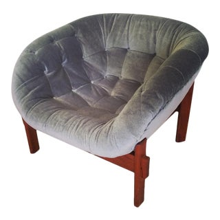 Mid Century Modern R. Huber Tub Lounge Chair Newly Upholstered For Sale