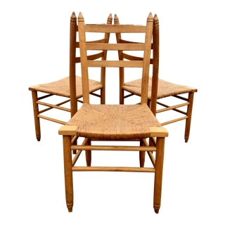 Mid Century Vintage Maple Rush Dining Chair - Set of 3 For Sale