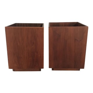 Mid-Century Wooden Minimalist Planters - a Pair For Sale