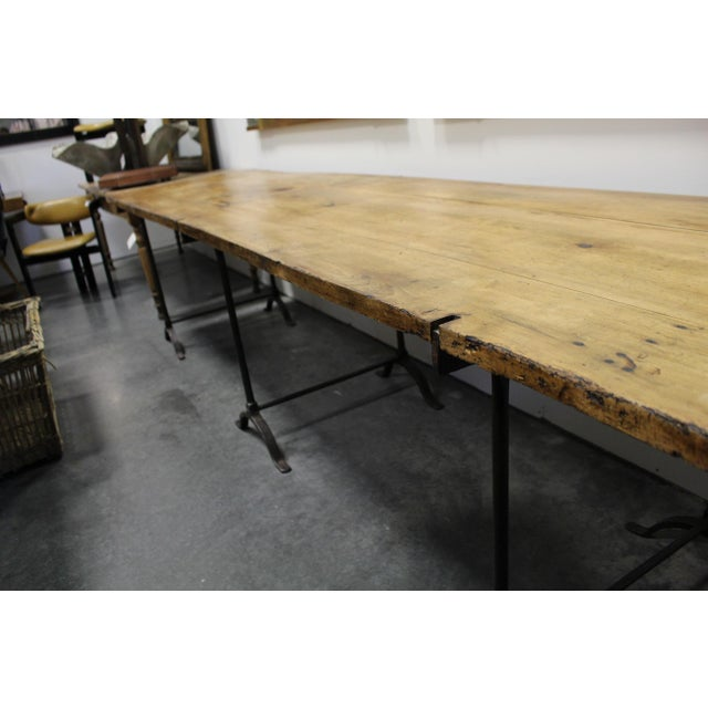 Extra Long Beech Farmhouse Dining Table With Iron Base For Sale In Nashville - Image 6 of 6
