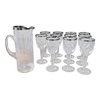 Vintage Glassware Set With Silver Trim For Sale