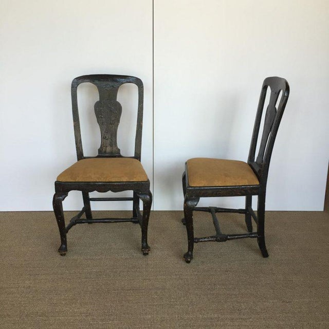 Pair of 18th century Continental Japanned side chairs in very nice antique condition. Continental, era: 18th