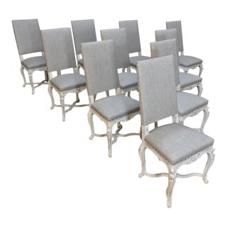Set of Ten Antique French Louis XV Painted Chairs, Newly Upholstered! For Sale