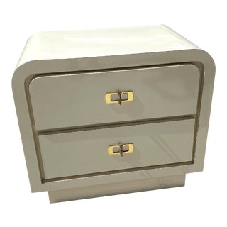 1980s White Lacquer Waterfall Two Drawer Nightstand For Sale