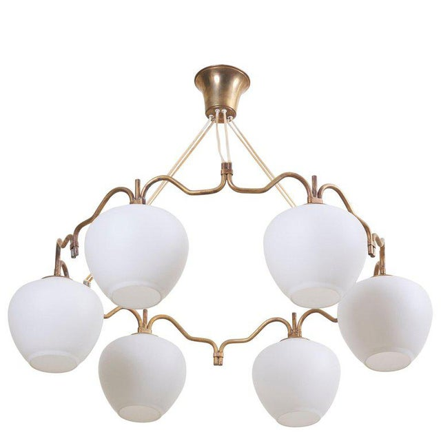 Six Shade Chandelier by Bent Karlby for Lyfa, Denmark, 1950s For Sale - Image 10 of 10