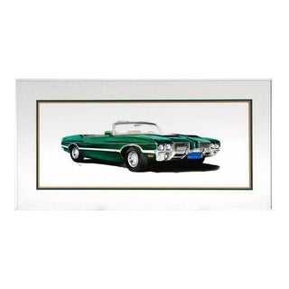 Green Olds 442 Muscle Car Original Americana Watercolor For Sale