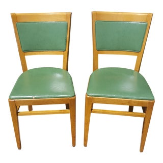 Vintage Thonet Green Leather Upholstered Side Chairs - a Pair