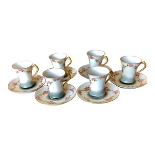 Antique Gda Limoge Porcelain China Cups and Saucers - Set of 6 For Sale