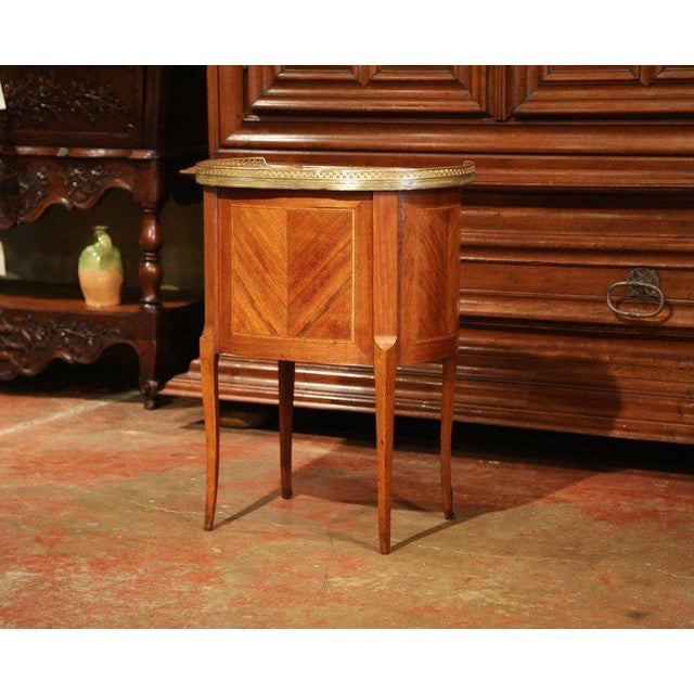 19th Century French Louis XV Walnut Commode Nightstand Chest With Marble Top For Sale - Image 9 of 10