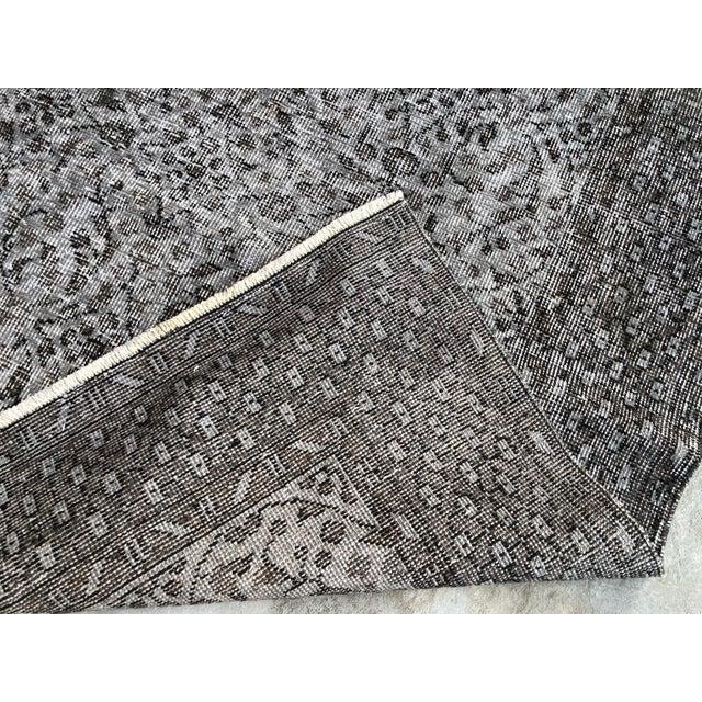 1960s Vintage Turkish Distressed Gray Carpet - 5′4″ × 9′6″ For Sale - Image 4 of 11