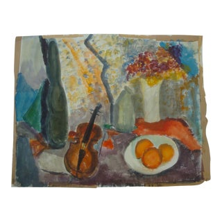 Midcentury Modern Abstract Still Life Watercolor Painting With Violin, Fruit and Flowers For Sale