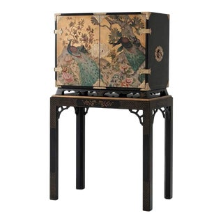 Hand Painted Peacock Bar Cabinet For Sale