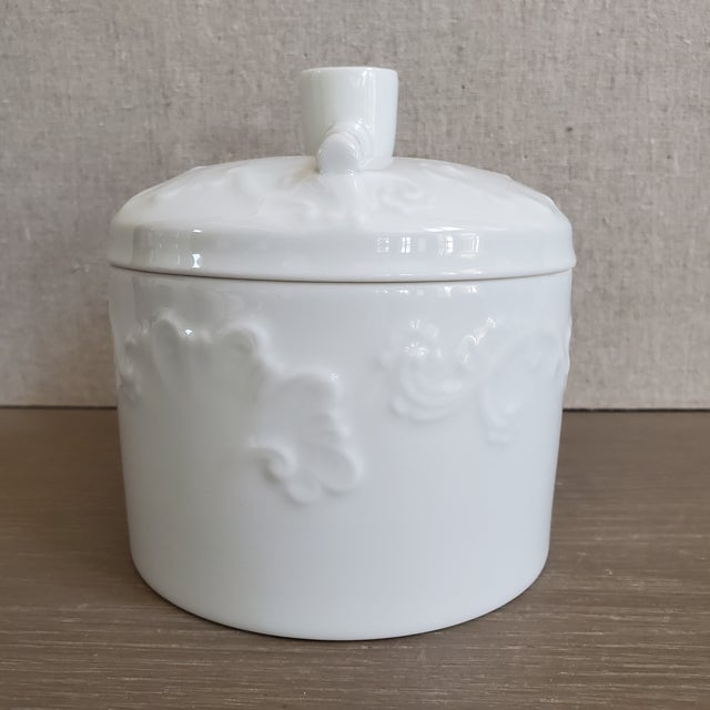 """Vintage French porcelain tobacco jar by Limoges. The vessel is a crisp pure white. The bottom is marked """"Giraud"""",..."""