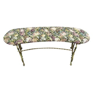 Small Decorative Iron and Floral Upholstered Vanity Bench For Sale
