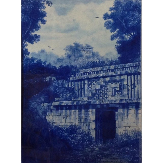 Figurative Framed Illustration Of Mayan Ruins For Sale - Image 3 of 3