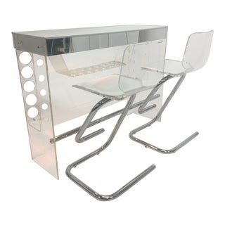 Vintage Mid Century Lucite and Mirrored Bar & Matching Bar Stools- 3 Pieces For Sale