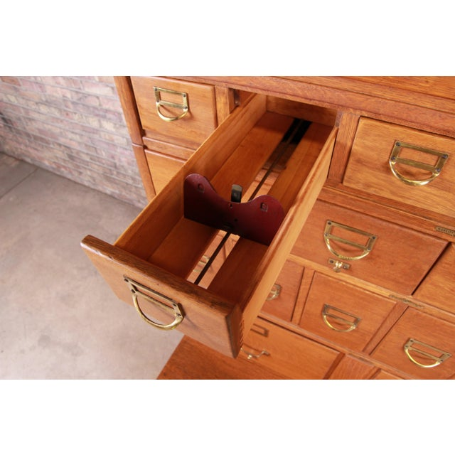 Antique Oak 24-Drawer Card Catalog File Cabinet, Circa 1920s For Sale In South Bend - Image 6 of 13