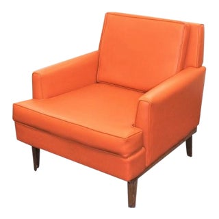 Mid Century Modern Orange Vinyl Chair For Sale