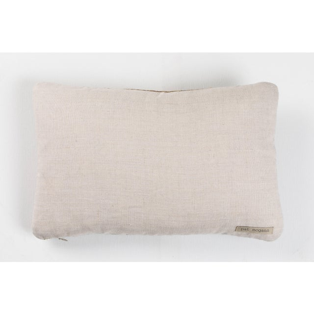 Indian Handwoven Pillow Piano Keys Olive For Sale - Image 4 of 5