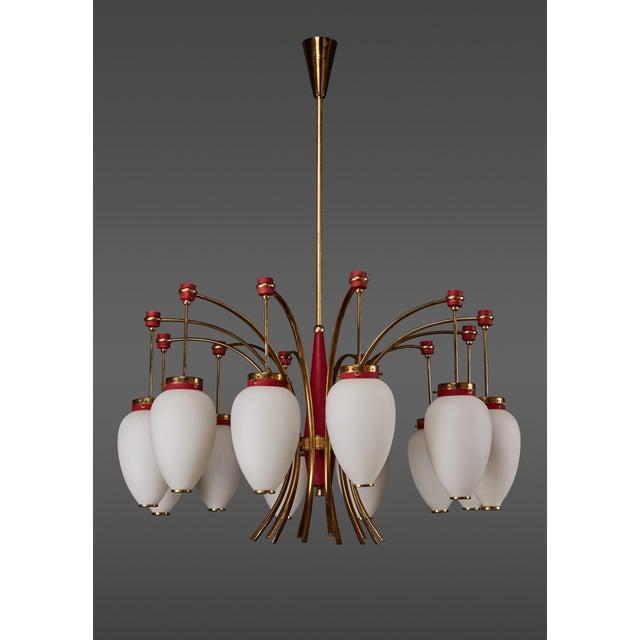 Italian Stilnovo Twelve-Globe Chandelier For Sale - Image 10 of 10
