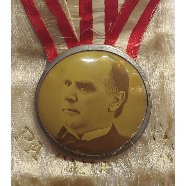 Campaign William McKinley 1896 Us Presidential Campaign Lapel Button W/Ribbon For Sale - Image 3 of 6