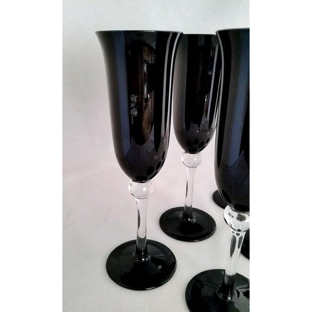 Black Crystal Champagne Flutes - Set of 6 For Sale In Los Angeles - Image 6 of 6