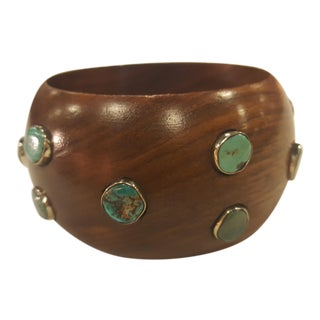 Handmade Wood Bracelet With Turquoise Detail For Sale