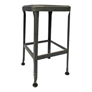 Vintage Industrial Gray Metal Shop Stool by Lyon