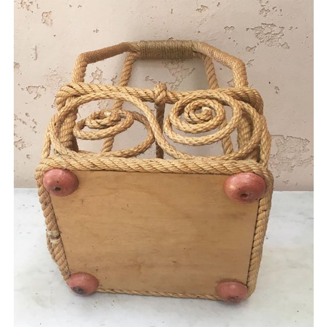 Mid-Century Modern Rope Bottle Carrier Audoux Minet, Circa 1950 For Sale - Image 3 of 6