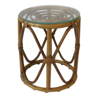 Hollywood Regency Round Wicker Rattan Bentwood Side Table For Sale