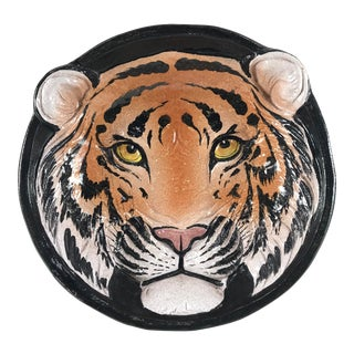 1970s Vintage Italian Ceramic Tiger Face Dish For Sale