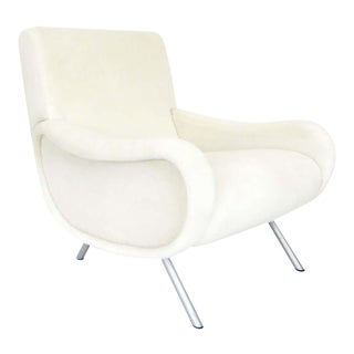 Marco Zanuso Lady Chair Italian Lounge Chair by Arflex Upholstered in Cream Italian Alpaca Mohair For Sale