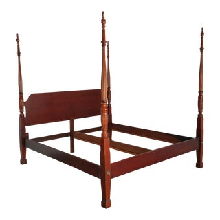 American Drew King Four Poster Bed- Vintage Federal Style For Sale