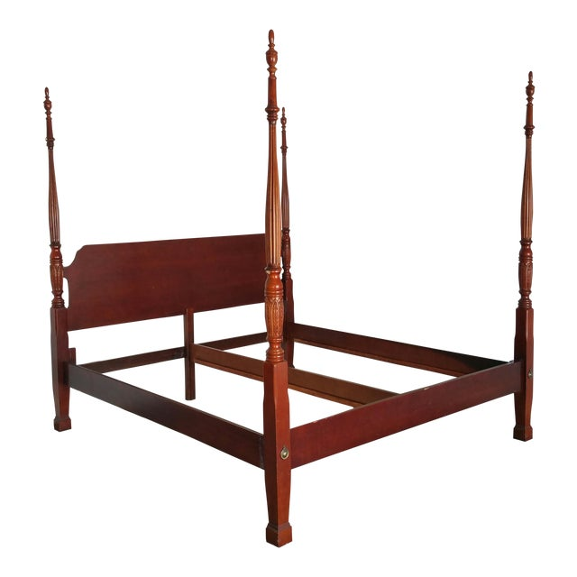 American Drew King Four Poster Bed- Vintage Federal Style | Chairish