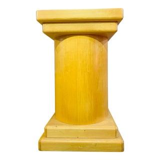 Post Modern Blonde Wood Table Pedestal Base For Sale