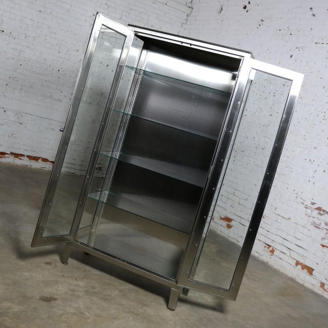 Silver Vintage Stainless Steel Industrial Display Apothecary Medical Cabinet With Glass Doors and Shelves For Sale - Image 8 of 13