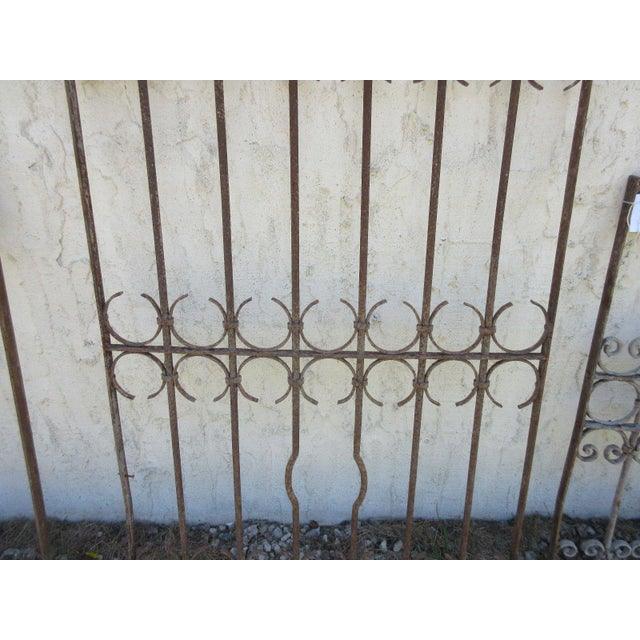 Antique Victorian Iron Gate Window Garden Fence Architectural Salvage Door For Sale - Image 4 of 6