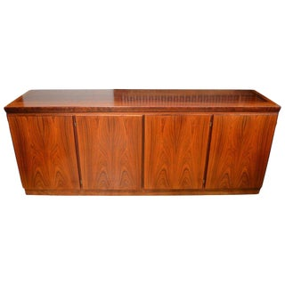 Midcentury Redwood Credenza From Skovby of Denmark With 4 Storage Compartments For Sale