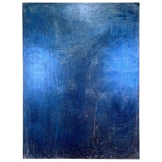 2019 Carol Post Blue Swirl Venetian Plaster and Acrylic on Canvas Painting For Sale