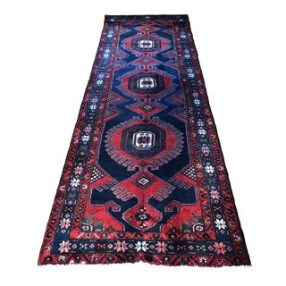21st Century Vintage Wool Hand Knotted Persian Kurdish Runner- 3′ × 30′ For Sale