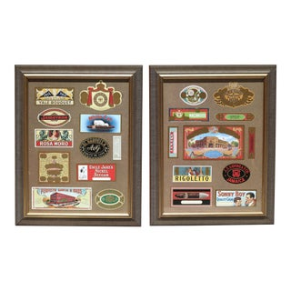Vintage Cigar Box Labels Mounted and Framed - Set of 2 For Sale