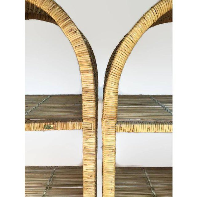 1970s 1970s Vintage Rattan Etagere Arched Bookcases - A Pair For Sale - Image 5 of 12