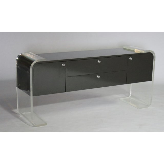 Lucite and Lacquered Wood Sideboard For Sale - Image 4 of 9